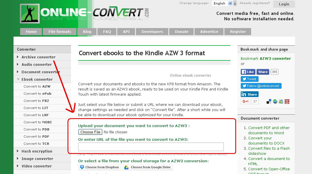 kindle e-book file format