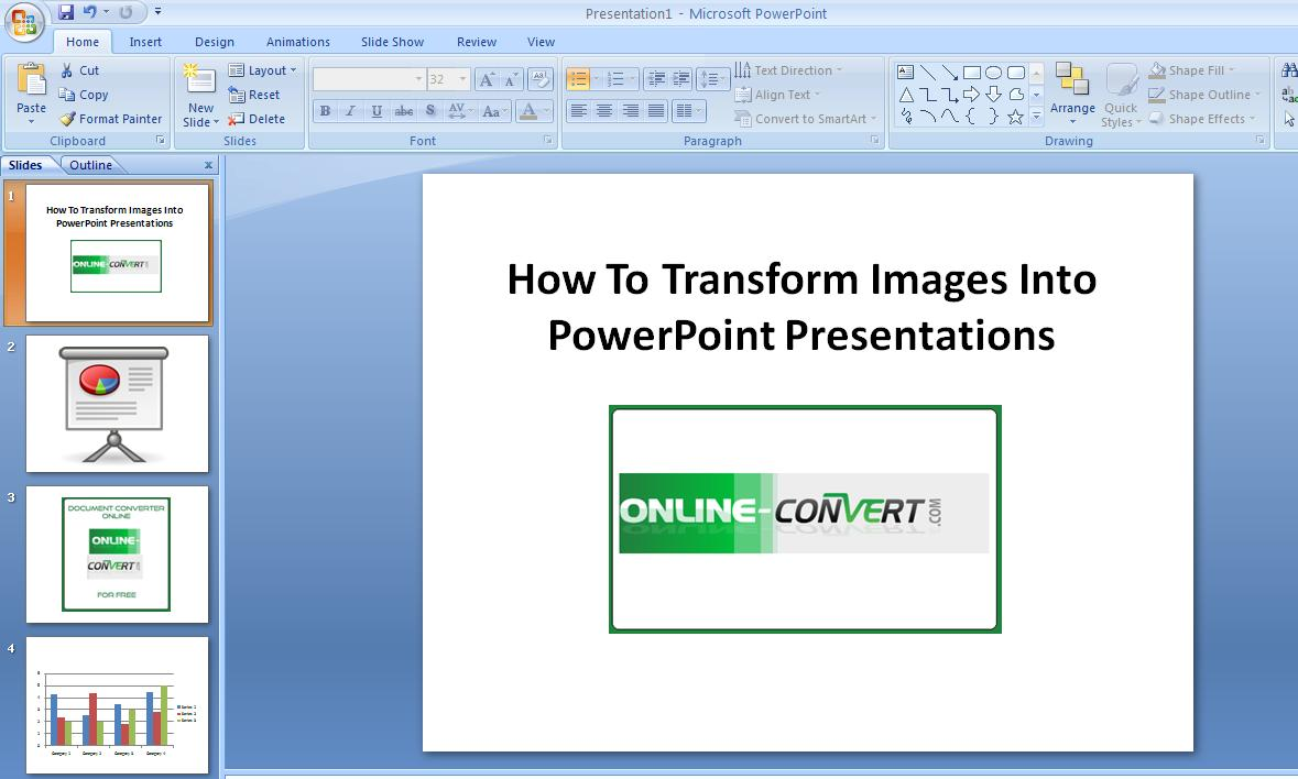 how to transform images into powerpoint presentations online file