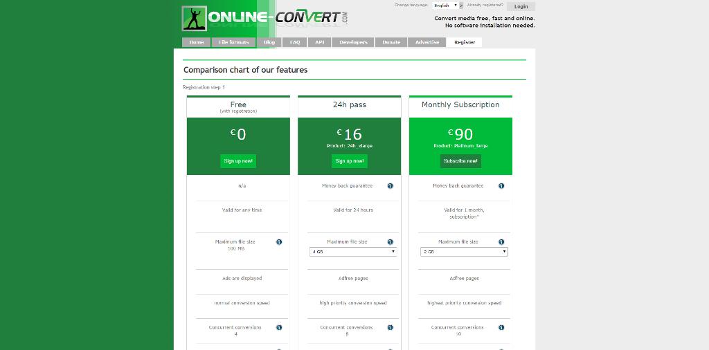 Online Convert Plans