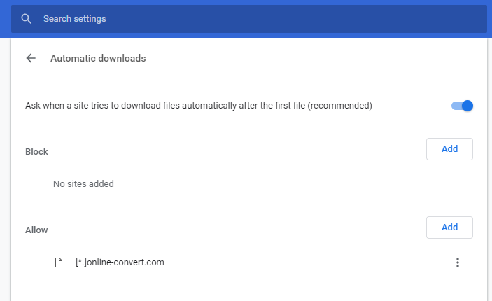 Activate/Unblock Automatic Downloads In Google Chrome | Online file